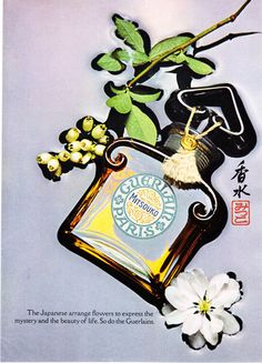 "1969 Guerlain Mitsouko Perfume Bottle photo ""Beauty of Life"" promo print ad"