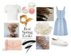 A fashion look from February 2018 featuring blue denim dress, ribbed t shirt and round toe shoes. Browse and shop related looks. Spring Looks, Aphrodite, Miss Selfridge, Stella Mccartney, Yves Saint Laurent, Oc, Daughter, Cabin, Shoe Bag