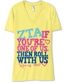 """ZTA If you're one of us, then roll with us"" #ZTA Zeta Tau Alpha tshirt"