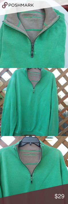 Tommy Bahama Reversible Half Zip Knit Pullover Tommy Bahama reversible half zip pullover size XL. Green with gray stitching on one side and gray with green stitching on the other. Half zip closure at the neck. Long sleeves. Very soft cotton. Measures: chest 49 1/2, length from shoulder seam to hem is 29 and sleeve length is 25. Tommy Bahama Sweaters Zip Up