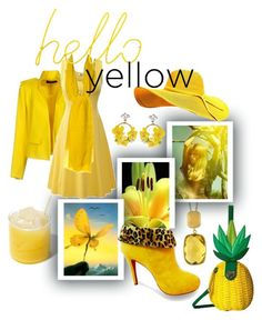 """""""hello yellow"""" by caroline-buster-brown on Polyvore featuring Effy Jewelry, Olsenhaus, Betsey Johnson, Alexandre Vauthier, Kenzo, VANINA, Block and yellow"""