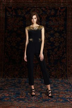 Pamella Roland | Pre-Fall 2016 | 20 Black sleeveless cropped jumpsuit with gold details