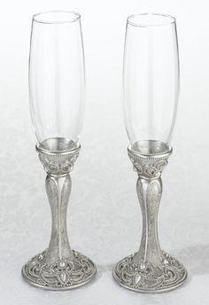 Prachtige set vorstelijk elegante champagneglazen