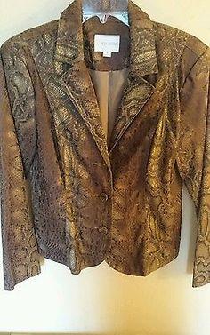 Erin London brown gold snakeskin print jacket medium