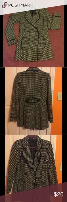 Wrapper black and white long jacket Wrapper black with white polka dots long jacket size small/ medium LIKE NEW Wrapper Jackets & Coats