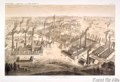 Charles Mercereau - View of the Krupp factory in Essen, lithograph by C.A. Oppermann, printed by Frick, Paris, 1861