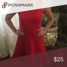 Francesca's Boutique red dress Beautiful thick material with a stretch!! Great eyelet detailing at bottom! Worn once! EUC Francesca's Collections Dresses
