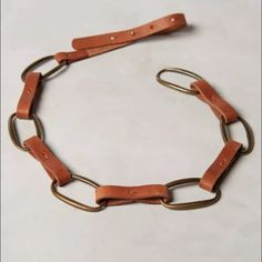 "New Anthropologie Linea Pelle Janels Belt Small Leather, brass Sits at hip Imported S: 34""L 0.5""W Anthropologie Accessories Belts"