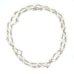 David Yurman Quatrefoil Sterling Silver Pearl Long Necklace