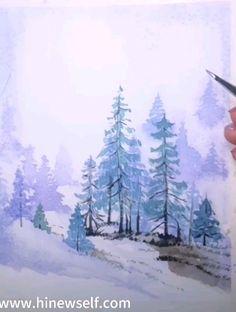2 How to draw snow mountains - Art-newself Watercolor mountains, to draw step by step, Winter Watercolor, Watercolor Trees, Mountain Paintings, Winter Landscape Painting, Winter Painting, Watercolor Landscape, Mountain Drawing, Landscape Art, Landscape Drawings