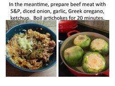 Ellen B Cookery: Meat Stuffed Artichokes