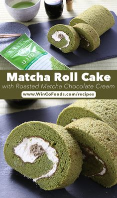 Matcha is more than just for creating drinks! Use it in this 'Matcha Roll Cake!' This recipe has step-by-step instructions to make the cake, whipped cream and chocolate. Green Tea Recipes, Matcha Green Tea, Chocolate Cream, Treat Yourself, Whipped Cream, Avocado Toast, Roast, Good Food, Favorite Recipes