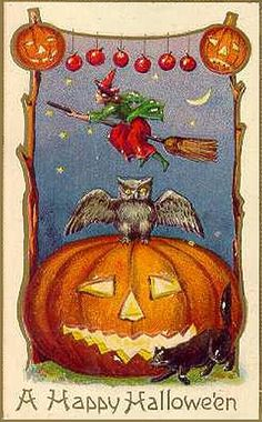 Mini Flying Witch Vintage Halloween Postcard