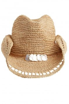 Adorned with a mother of pearl accented trim, this hand crocheted raffia hat is inspired by all things beach. Versatile brim can be worn rolled for a cowboy silhouette or unrolled for a wide brim sunhat. Chapeau Cowboy, Cowgirl Hats, Western Hats, Cowgirl Style, Western Style, Painted Hats, Raffia Hat, Boho Hat, Wide Brim Sun Hat