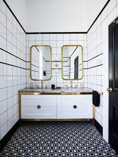Newtown House Victoria, Australia Decor, Blue Walls, House, Interior, White Ceiling, Contemporary Accents, Bathroom Vanity, Elle Decor, Interior Design