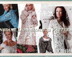 Coats, Jacket, Dress,Skirt,Top. Freeform, Irish Lace. Crochet Patterns. E-book. Instant Download PDF. Fall Issue Journal Mod #515