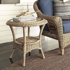 Found it at Birch Lane - Lynwood Round End Table Patio Bar Stools, Patio Lounge Chairs, Patio Bar Set, Patio Table, Outdoor Tables, Wicker Side Table, Round Side Table, End Tables, Traditional Outdoor Furniture