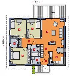 Prosty, ekonomiczny w budowie i późniejszej eksploatacji dom parterowy. Posiada 3 sypialnie, sprawdzi się więc doskonale dla rodziny 4 osobowej.