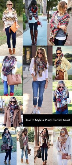 How to Style a Plaid Blanket Scarf - see more on how to choose scarves and accessories at http://www.lookingstylish.co.uk/2015/03/10/spring-capsule-wardrobe-part-8-choosing-accessories/