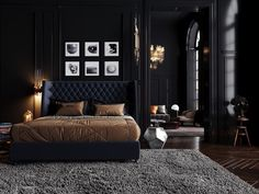 Loft Style Bedroom, Stylish Bedroom, Bedroom Styles, Modern Bedroom, Latest Bedroom Design, Black Bedroom Design, Bedroom Black, Dark Interiors, Beautiful Interiors