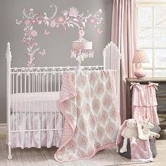 Pink and grey floral bedding set for a darling pink baby nursery