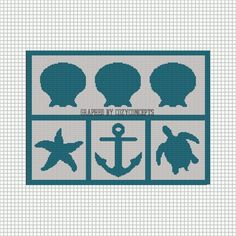 SILHOUETTES TURTLE SHELL STARFISH ANCHOR CROCHET AFGHAN PATTERN GRAPH