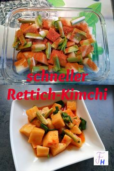 Original wird Kimchi natürlich mit Chinakohl eingelegt. Da dies aber immer mit einer großen Menge verbunden ist, empfehle ich für Anfänger Rettich-Kimchi, auch Kkakdugi genannt. Hier kann man auch erstmal einen kleinen Rettich einlegen und schauen, ob der Geschmack einem zusagt. Kimchi, Vegan, Sweet Potato, Potatoes, Vegetables, Blog, Life, Korean Cuisine, Chinese Cabbage