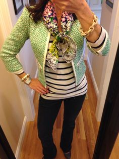 OOTD...CAbi Spring '14 Clover Tweed Jacket, Spring '12 Playtime Tee, Simple Cami, Heart of CAbi Scarf and Fall Baby Boot Jean. www.nancydowning-schloss.cabionline.com Love this look! Polished and casual at the same time!!