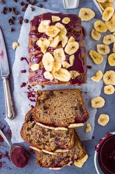 vegan chocolate chip banana bread with blueberry glaze and banana chips