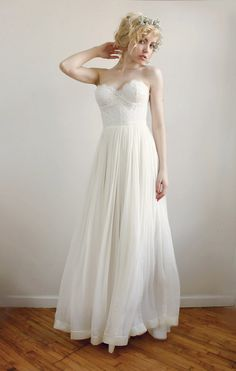 Lace and chiffon strapless gown SamanthaSAMPLE by Leanimal