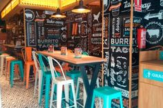 Most Inspirational School Cafe Design - Part To Remember Restaurant Vintage, Mexican Restaurant Design, Mexican Bar, Taco Restaurant, Cool Restaurant, Restaurant Interior Design, Cafe Interior, Mexican Restaurants, Bar Mexicano