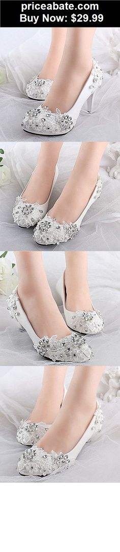 Wedding-Shoes-And-Bridal-Shoes: White lace crystal Wedding shoes Bridal flats/low/high heels size 5-12 - BUY IT NOW ONLY $29.99