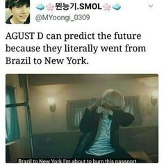 """Not to forget he also said """"my next target is billboard, Brazil to new york..."""" and that's what happened tHEY WENT FROM BRAZIL TO NY AND HAD AN INTERVIEW WITH BILLBOARD I'M shook #bts #bangtanboys #yoongi #suga"""