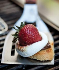 Skewered Strawberry & Marshmallow S'mores -- Fresh strawberries, marshmallow, baguette and dark chocolate.