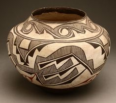 Lot# 1113 A Native American Zuni pottery olla. First half 20th century, with narrow mouth over a bulbous body decorated with wave band over further black and red geometric decoration on an ivory ground, 10.5'' H x 14'''' Dia., est: $1500/2500 *Price Realized: $2,280.00