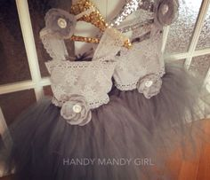 "The ""Shirley"" dress-grey lace and tutu skirt for a flower girl or little diva with lace straps- up to size 5T -vintage flower girl dress-wit"
