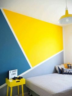 Best Artistic Geometric Wall Art For Home Interior - Page 6 of 40 Bedroom Wall Designs, Bedroom Wall Colors, Bedroom Color Schemes, Bedroom Decor, Wall Painting Decor, Wall Art, Art Mural, Geometric Wall Paint, Home Room Design