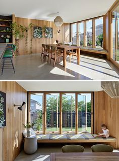 A built-in window seat pops out from this dining room to give the kitchen and dining area light and views of the backyard. Home Decor Kitchen, Home Decor Bedroom, Home Interior Design, Interior Architecture, Dining Room Windows, Bay Windows, Deco Studio, Backyard Seating, Built In Seating