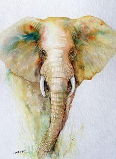 Neuling in meiner Elefanten-Sammlung...  Elefanten sind große, starke aber gleichzeitig sanft und Frieden lieben Tiere.Die Textur der Haut und der große Lüfter wie Ohren halten eine Vielzahl von Möglichkeiten für einen Künstler! Diese sieht regal, aus Nebel.    Ich mag die üblichen grauen dieser Tiere verschiedene Farbtöne hinzu.    Titel: Regal Gold    Die Größe beträgt ca. 12 x 9    Technik: Aquarell auf CP Hahnemühle-Papier 140 lb    Versand: ich Schiff die Gemälde UNFRAMED, flach…