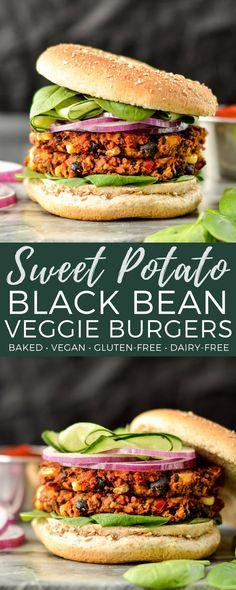 Baked Sweet Potato Black Bean Veggie Burgers are vegan, gluten-free and freezer-friendly! The perfect make-ahead meatless main dish! #veggieburger #vegan #glutenfree #dairyfree #baked #maindish