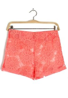 Orange Lace Hollow-out Short Straight Cotton Blend Pants