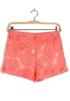 Orange Lace Hollow-out Short Straight Cotton Blend Pants