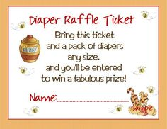 Winnie the Pooh Baby Shower / Diaper Raffle Card / Printable File on Etsy, $10.00.                                                 Cute instead of a wishing well!