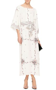Eliza Floral Printed Silk Kaftan by Vilshenko - Moda Operandi