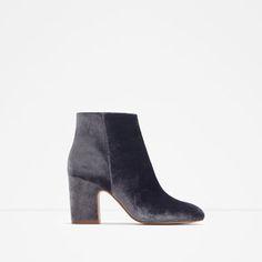 Image 1 of HIGH HEEL VELVET ANKLE BOOTS from Zara