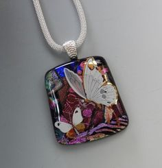 Dichroic Glass Statement Pendant Fused Glass Necklace by GlassCat