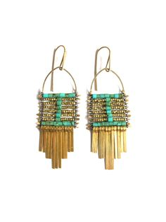 Demimonde Turquoise and Brass Earrings ( via @Melissa Squires Spivak. french * )