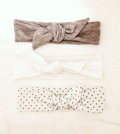 Jersey Knit Baby Girl Headband Tie Knot - Gray - Polkadots -striped -polka dot - aztec - jersey -bow - tie knot -stretch -baby toddler adult...