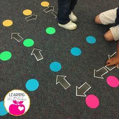Coding with using SitSpots- Genius! #coding #kindergarten