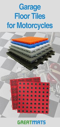 cbddd00f8ed Let's take a look at motorcycle garage parking mats and flooring ideas.  Your motorcycle mats